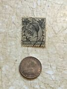 Silver Coin Straits Settlements 1918 10 Cent And Stamp 1908 1 Cent Lot
