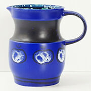 Pitcher Ceramic Apples Blue Sign W-ll 1968 Vintage 60s 60's Years 60