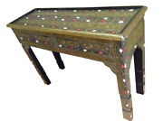 Moroccan Console Table Camel Bone And Golden Silver Carved Etched Metal Furniture