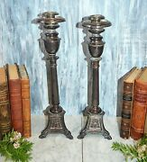 Antique Pair French Church Altar Candle Holders Candlesticks Mary Sacred Heart
