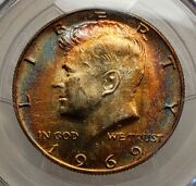 1969-d Kennedy Half Dollar Ms64 Pcgs Really Nice Toned Ms64