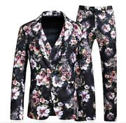 New Menand039s Printed Floral Formal Blazer Suit Slim Coat Wedding 3 Pc Sz S-5xl