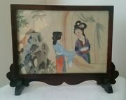 Antique Chinese Table Screens Hand Painted - Lot Of 4