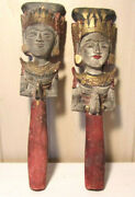 2 X Antique Wood Marionette Puppet - Theater - Eastern Hindu - Handpainted 12