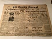 1940 Ww2 Newspaper Courier Journal Invasion Attempt Smashed Nazi Warships Lose