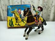 Western Hero Tin Litho Horse Clockwork Wind Up Japan 1960and039s Rare Free Shipping