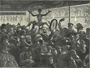 Rome - The Feast Of Trumpets In Honour Of The Befana 1872 Victorian Engraving