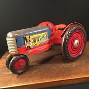 Vintage Marx Toy Tractor Tin Litho Usa Steel Play Farm Priority Mail