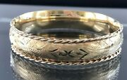 Solid 14k Yellow Gold Engraved Rope Trim Hinged Cuff Bracelet