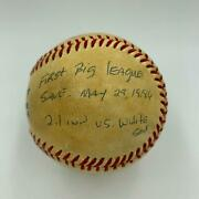 Mitch Williams First Career Save Game Used Signed Heavily Inscribed Baseball Jsa