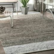 Nuloom Solid And Striped Handmade Otha Tassel Area Rug In Gray