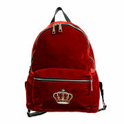 Versace And039nand039 Royalty Menand039s Dfz6735-dvel Red Velour Backpack