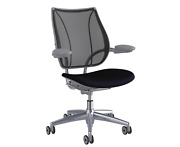 New Humanscale Liberty Office Desk Task Chair - Aluminum Frame Black Fabric Seat