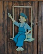 Orig. 1920and039s-40and039s Iconic Dutch Boy Paint Die-cut Boy On Swing Store Display