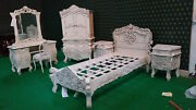 Uk Stock 3and039 Single Size Antique White French Rococo Bed Carved Mahogany Wood