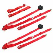 Jeep Comanche 1985-1992 Standard 3pt Red Retractable Bench Seat Belt Kit - 3 Be