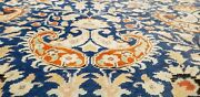 Exquisite Late 1930and039s Antique Wool Pile Indigo Dye Armenian Hereke Rug 8x11ft