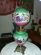 Antique Vintage 1940's Hurricane Gone With The Wind Lamp