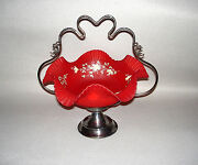Consolidated Art Glass Red Satin Brides Basket Silverplate Frame