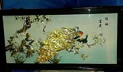 Vintage Chinese Mother Of Pearl Abalone Shell Art Shadow Box Signed. 4andrsquox2andrsquo L@@k
