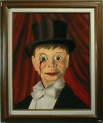 Charlie Mccarthy Oil Painting, Puppet Dummy Doll Ventriloquist
