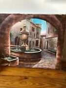 """M. Andrea Oil Painting, Signed 20.5x16.5 """"fountain"""""""