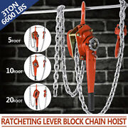 Chain Lever Hoist Come Along Ratchet Lift 3.0 Ton Capacity 0 Ship 5and03910and03920and039 Ft