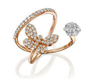 1.91ct Natural Round Diamond 14k Solid Rose Gold Butterfly Ring In Size 7 To 9