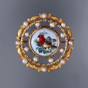 Gorgeous Antique Victorian 18k Gold Porcelain Brooch/pin Birds Seed Pearls 14g