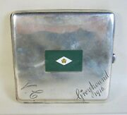 1916 Wwi Unknown English Sterling Cigarette Case Greyhound Flag 4.6-ozt 145g