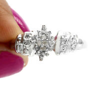 1/14 Ct Simulated Diamond 18k White Gold Over Ove Accent Cluster Ring