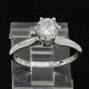 Estate 14k White Gold 0.50ct Round Cut Natural Diamond Solitaire Engagement Ring