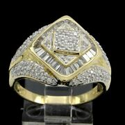 Estate 2.00ct Round And Baguette Cut Real Diamond 14k Yellow Gold Engagement Ring