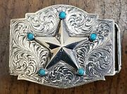 Douglas Magnus Sterling Silver Repousse Star Belt Buckle With Engraved Patterns