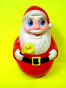 Vintage 1971 Sanitoy Inc Roly Poly Chiming Santa Claus-plastic 7 1/2 Tall-minty