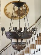 Antique Chain Wrought Iron Bowl Chandelier Motif Details French Gothic Country