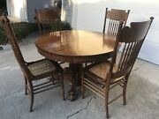 Reduced 50- Antique Oak Clawfoot 45andrdquo Table And 4 Matcing Chairs