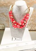 Christian Dior Mise En Dior Tribal Coral Pink Triple Row Necklace
