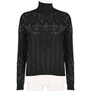 Emilio Pucci Black Slim-fitting Glass Beaded Funnel Neck Sweater Knitwear S It40