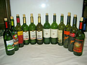 Lot Of 12 Green And Brown Tinted Glass Wine Bottles 750ml, With Corks, Diy Crafts