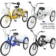 20/24/26 Adult Tricycle 1/7 Speed 3-wheel For Shopping W/ Installation Tools