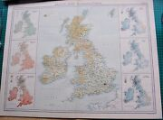 1922 Large Antique Map- British Isles-vegetation And Climate