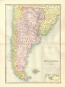 1890 Antique Map - South America,section 3,argentina, Paraguay, Chile