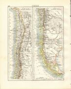 1897 Antique Map- Johnston - South America, Chile