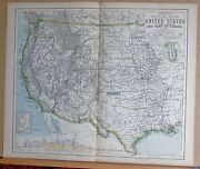 1883 Antique Map United States And Part Of Canada Indian Territory Cp Railway