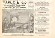 1893 Antique Print - Advert- Maple And Co Furniture, Curtains, Tapestries,carpets