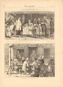 1873 Antique Print- Life In China - Fortune Telling Exterior Of Chinese Inn