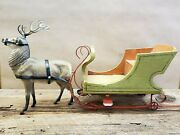 1930and039s Vintage Christmas Reindeer Candy Container With Sleigh