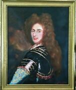 Masterpiece French King Louis Xiv Oil On Canvas Portrait By Artist Guy Foster