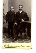 Father-son-christiania-norway-full Length Studio Cdv Vintage Antique Photograph
